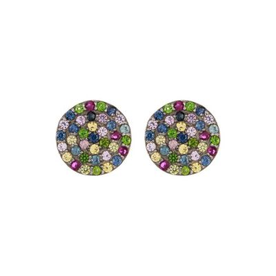 Adornia Fine 10mm Disc Studs Mixed Gemstones .925 Sterling Silver