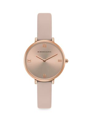 BCBGMAXAZRIA Classic Rose Goldtone Stainless Steel Leather-Strap Watch
