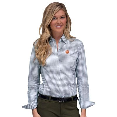 Clemson Tigers Women's Easy Care Gingham Button-Up Long Sleeve Shirt - White/Gray