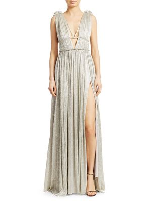 Jonathan Simkhai Plisse Lame Open Back Maxi Dress