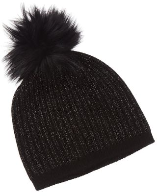 Amicale Cashmere Ribbed Lurex Pom Cashmere Hat