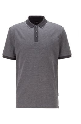 HUGO BOSS - Patterned Polo Shirt In Pure Cotton With Tipped Collar
