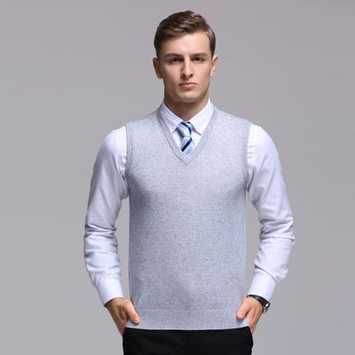 High quality men's  cashmere sweater vest autumn & winter sleeveless sweater male office solid color V-neck wool vest pullover