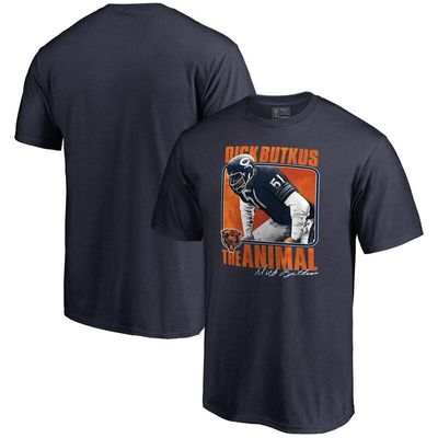 Dick Butkus Chicago Bears NFL Pro Line Retired Player Illustration Name & Number T-Shirt - Navy