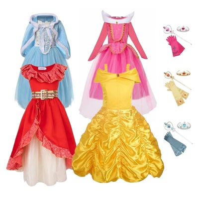 FINDPITAYA Girls Belle Dresses Beauty and beast Christmas Halloween Party Kids Cosplay Costume with Accessories