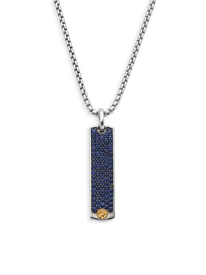 Effy Sterling Silver & 18K Yellow Gold Sapphire Rectangle Pendant Necklace