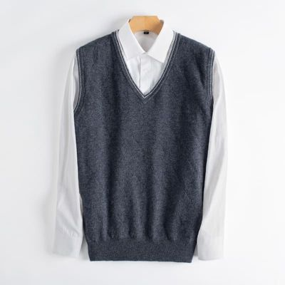 Man Vest 100% Cashmere Knitting Pullovers V-neck Sleeveless 2019 Winter New 3Colors Best Quality Sweaters Male Clothes