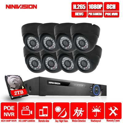 8CH POE 5MP Security NVR Sets Audio output 2.0MP CCTV Camera System Dome Indoor Outdoor Weatherproof Surveillance Kits 2TB HDD
