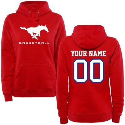SMU Mustangs Women's Personalized Basketball Pullover Hoodie - Red