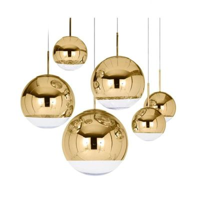 Nordic Glass Mirror Ball Chandelier Lighting Gold Silver Glass Ball Lamps Kitchen Living Room Bedroom lustre Glass Chandeliers