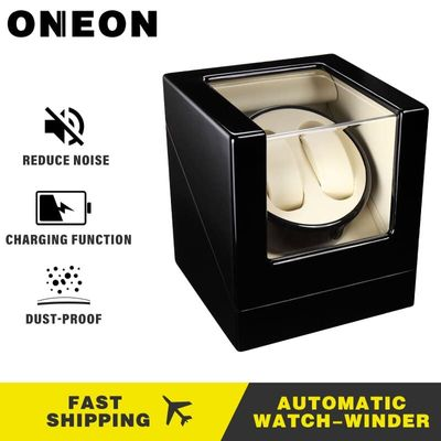 ONEON  Double Automatic Watch Winder Box Luxury Watch Display Case for 2 Wrist Watches ,Powered by Japanese Motor Extremly Quiet