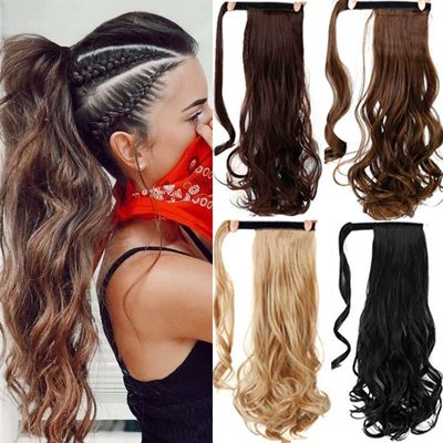 MUMUPI long thick straight curly ponytail wrap around ponytail clip in Hair extensions natural hairpiece headwear