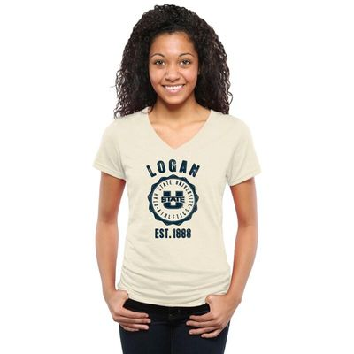 Utah State Aggies Women's Old-School Seal Tri-Blend V-Neck T-Shirt - White