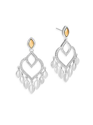John Hardy Legends Naga Diamond Pave, 18K Gold & Silver Chandelier Earrings