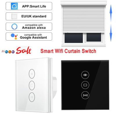 EU/UK 110-250V WiFi Electric Curtain Switch Touch APP Samrt Life  Voice Control By Alexa Echo For Mechanical Limit Curtain Motor