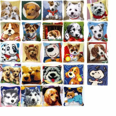 love DOGS Cushion Latch Hook Kit Pillow Mat DIY Craft Flower 42CM 42CM Cross Stitch Needlework Crocheting Cushion Embroidery
