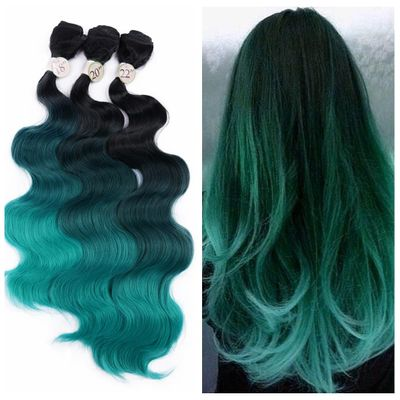 FAVE Ombre Synthetic Body Wave Hair 3 Bundles with Closure Heat Resistant Fiber Hair Colorful Synthetic Hair Extension 18