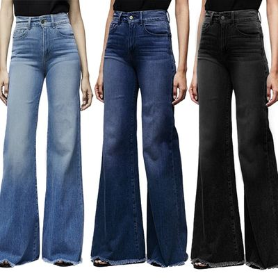 CALOFE Fashion Brand Elastic Jeans Women Button Washed Denim Pants Femme Pocket Trouser Boot Cut Straight Line Flare Jeans Mujer