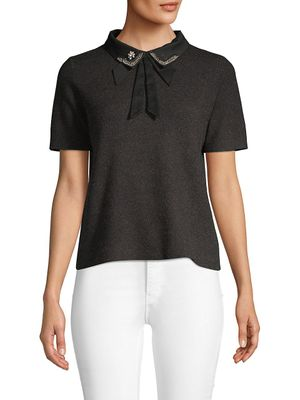 Lea & Viola Embellished Bow Top