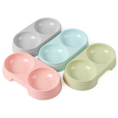 2 In 1 Pet Double Bowls Creative Candy Color Plastic Bowl Pet Food Water Feeder Dog Cat Bowl Pet Feeding Supplies for Pet