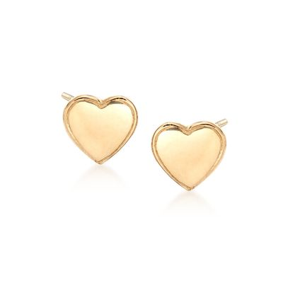 Ross-Simons 18kt Yellow Gold Heart Stud Earrings