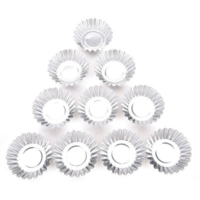 Brand New 10Pcs Silver Aluminum Cupcake Egg Tart Mold Cookie Pudding Mould Makers Cupcake Liners Baking Pastry Tools