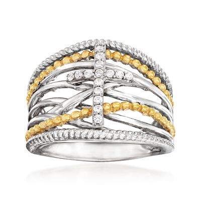 Ross-Simons Diamond Cross Crisscross Ring in Sterling Silver and 18kt Gold Over Sterling