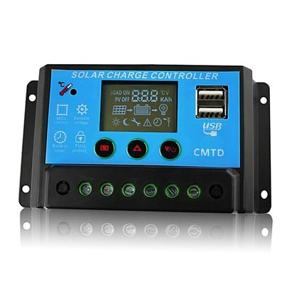 10A Solar Charge Controller 12V/24V LCD Display Dual USB Solar Panel Charge Regulator Battery Protection