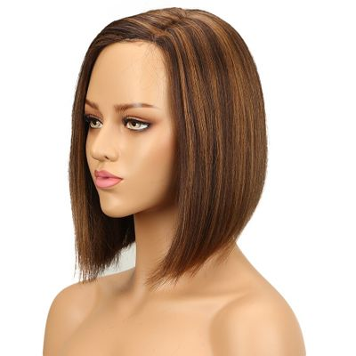 Lekker Ombre Human Hair Wigs Straight Bob Short Human Hair Wigs For Women Pre Colored Lace Wig 100% Remy Humain Hair Ten Colors