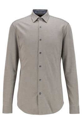 HUGO BOSS - Slim Fit Shirt In Patterned Cotton Jersey