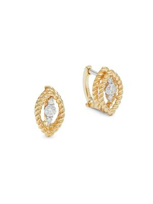 Roberto Coin 18K Yellow Gold, Diamond, & Ruby Marquise Earrings