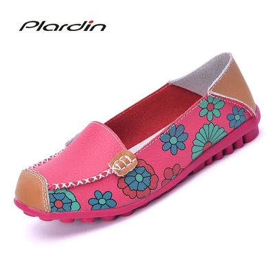 Plardin Cow Muscle Ballet Summer Flower Print Women Genuine Leather Shoes Woman Flat Flexible Nurse Peas Loafer Flats Appliquesm