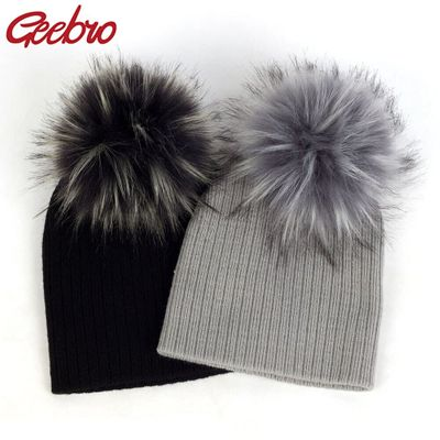 Geebro Fashion child baby Solid Color Ribbed Beanies hats With Faux fur pompom New Girls Boys Kids Soft Cute skully hats