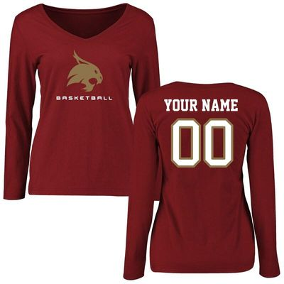 Texas State Bobcats Women's Personalized Basketball Long Sleeve T-Shirt - Maroon