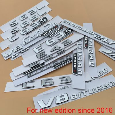 Chrome Letter Number Emblem for Mercedes Benz AMG C43 C63 C63S E43 E53 E63S S65L V12 V8 BITURBO 4MATIC+ Car Trunk Fender Sticker