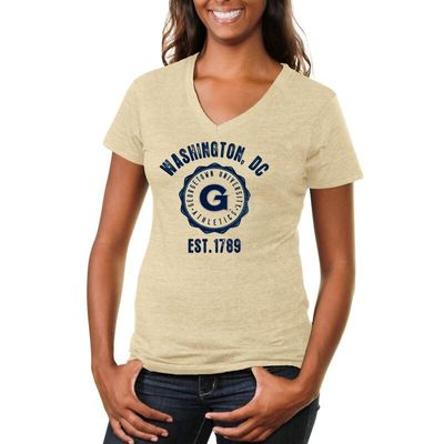 Georgetown Hoyas Women's Old-School Seal Tri-Blend V-Neck T-Shirt - White