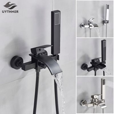 Uythner Bathroom Tub Faucet Single Handle Waterfall Spout Mixer Tap with Hand Shower Wall Mounted Bath Faucet Bathtub Faucet