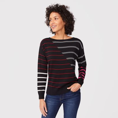 Nautica Sustainably Crafted Mixed-stripe Boatneck Sweater