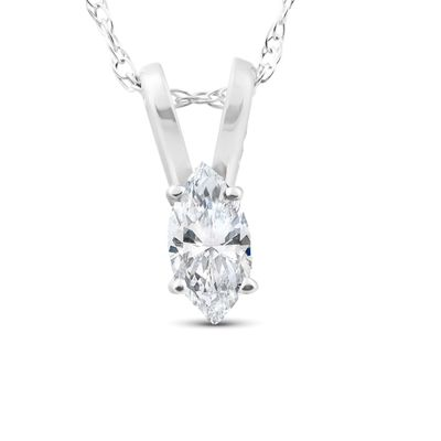 1/8ct Fancy Marquise Diamond Solitaire Pendant 14K White Gold