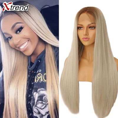 Xtrend Straight Pink Synthetic Lace Front Wig White Purple Green Blonde 613 Grey 60 Copper Wigs For Black Women Heat Resistant