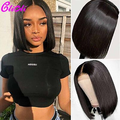 13X4 13X6 Transparent Straight Lace Front Wig Remy Brazilian Short Bob Wigs 360 Lace Frontal Human Hair Wigs For Women 150%