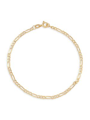 Saks Fifth Avenue Made in Italy 14K Yellow Gold Bevelled Figaro Chain Bracelet