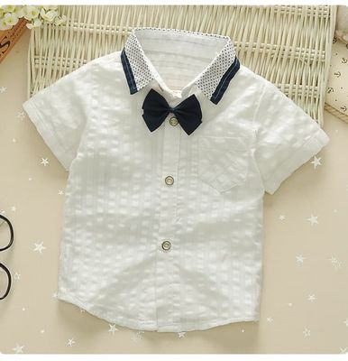 Boy's baby cotton and linen short-sleeved shirt