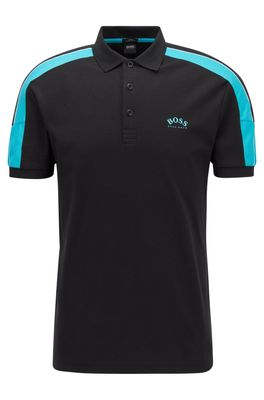 HUGO BOSS - Slim Fit Polo Shirt In Cotton With Striped Sleeves