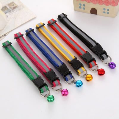Sale Cute Dog Collar Buckle Bell Strap Adjustable strap Night Glossy Reflective Safety Pet Collar