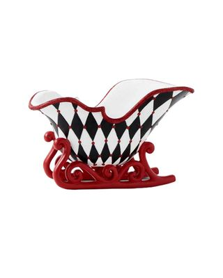 K&K interiors Black & White Harlequin Sleigh Decor