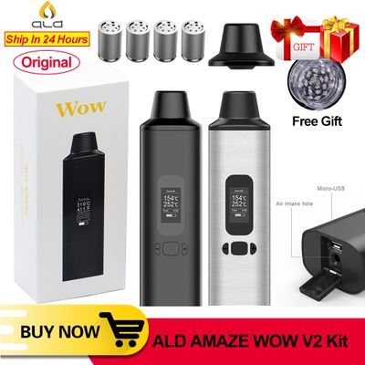 ALD AMAZE wow V2 dry herb vaporizer kit herbal electronic cigarette vaporizer portable vape pen with 0.96 inch big Oled display
