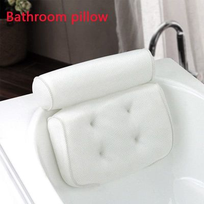 3D Mesh Spa Non-Slip Cushioned Bath Tub Spa Pillow Bathtub Head Rest Pillow With Suction Cups For Neck And Back Bathroom Supply