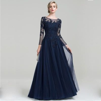 Scoop Neck A-Line Floor-Length Tulle Mother of the Bride Dress with Beading Sequins for Wedding Party Custom Made