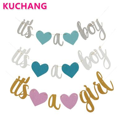 1 Set It's A Boy It's A Girl Banner Newborn Party Decorative String Flags Girl Boy Baby Shower Party Bunting Wall Decoration Toy